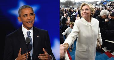 Photos of former President Barack Obama and former secretary of state Hillary Clinton.