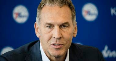 Philadelphia 76ers general manager Bryan Colangelo speaks during a news conference