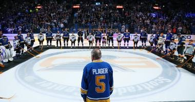 Original St. Louis Blues player Bob Plager during player introductions