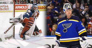 NHL goalies Patrick Roy and Martin Brodeur.