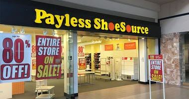 A Payless store during a whole store sale.
