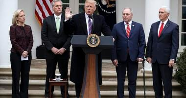 President Donald Trump joined by, from left, Secretary of Homeland Security Kirstjen Nielsen, Representative Kevin McCarthy, Representative Steve Scalise and Vice President Mike Pence