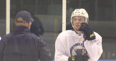 St. Louis Blues 19-year-old forward Robert Thomas during practice.