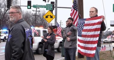 Members of St. Louis community show up at Jefferson Barracks for funeral procession of Navy Seal Scott Wirtz.