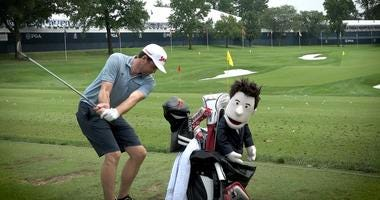 Keegan Bradley sports Patrick Warburton headcover from National Car Rental.