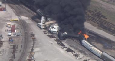 train derailment and fire