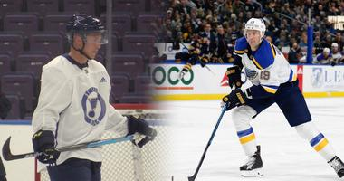 Blues players Tyler Bozak and Jay Bouwmeester.