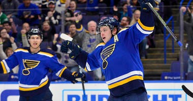 St. Louis Blues right wing Vladimir Tarasenko (91) celebrates