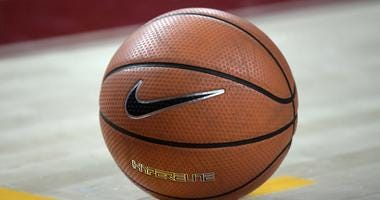 General overall view of a Nike basketball on the court during an NCAA basketball  game.