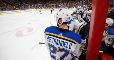 St Louis Blues defenseman Alex Pietrangelo (27) on the bench