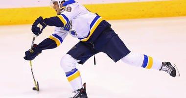 St. Louis Blues defenseman Mitch Reinke shoots