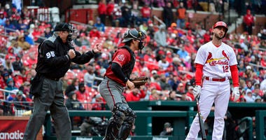 St. Louis Cardinals shortstop Paul DeJong (12) reacts as he is called out on strikes