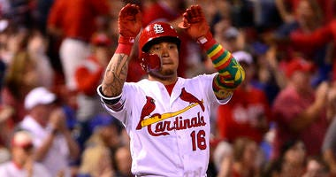 St. Louis Cardinals second baseman Kolten Wong celebrates a hit.
