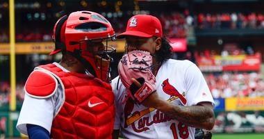 Pitcher Carlos Martinez with catcher Yadier Molina.
