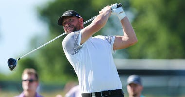 Michael Block tees off the eighth hole during the first round of the U.S. Open golf tournament at Shinnecock Hills GC