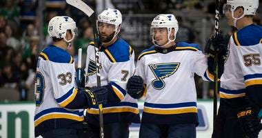 St. Louis Blues left wing Patrick Maroon (7) and right wing Jordan Kyrou