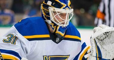 St. Louis Blues goalie Chad Johnson.