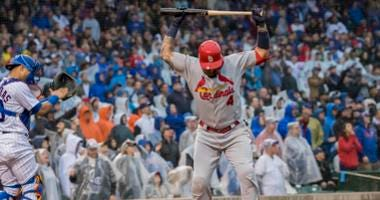 St. Louis Cardinals catcher Yadier Molina (4) reacts