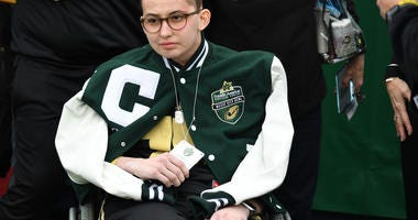 Purdue Boilermakers superfan and honorary bowl captain Tyler Trent before the game between the Purdue Boilermakers and Auburn Tigers