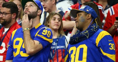 Los Angeles Rams fans react in the fourth quarter against the New England Patriots in Super Bowl LIII