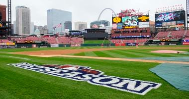 General view of Busch Stadium and the MLB Postseason logo