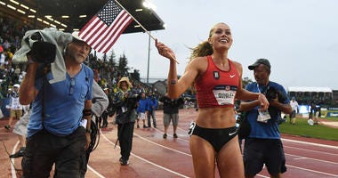 Colleen Quigley reacts after competing during the women s 3000m steeplechase