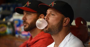 Cardinals outfielder Matt Holliday in the dugout.