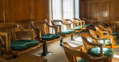 Jury Box in the historic Mohave County Courthouse, Kingman, Arizona