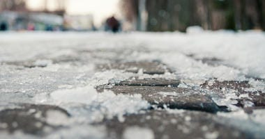 ice and snowon the road winter cold