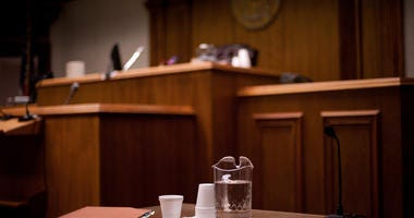 Photograph of a courtroom using shallow depth of field.