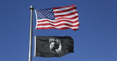 American and POW/MIA flags flying high