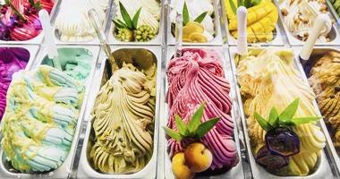 Classic italian gourmet gelato ice cream display in shop