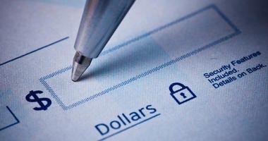Close up image of bank check