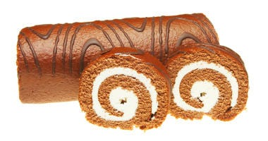 Chocolate swiss roll with slices isolated on white