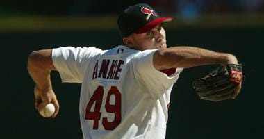 Rick Ankiel pitching for the St. Louis Cardinals.