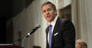 Gov. Eric Greitens delivers the keynote address at the St. Louis Area Police Chiefs Association 27th Annual Police Officer Memorial Prayer Breakfast on April 25, 2018, at the St. Charles Convention Center.