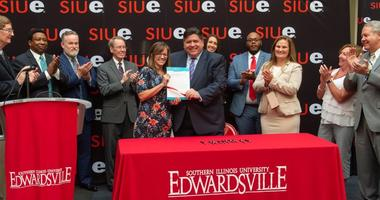 Gov. JB Pritzker at SIUE with Katie Stuart