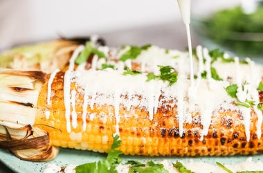 Making Mexican corn on the cob Elote.