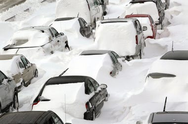 Cars sit in the northbound lanes of Lake Shore Drive after accidents and drifting snow stranded the drivers during last night's blizzard February 2, 2011 in Chicago, Illinois. As of late morning over 20 inches of snow had fallen, making this snowstorm the