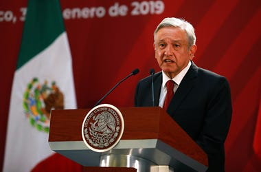 Andres Manuel Lopez Obrador President of Mexico speaks during the joint press conference during an Official visit of Pedro Sánchez Pérez-Castejón Prime Minister of Spain and members of his cabinet at Palacio Nacional on January 30, 2019 in Mexico City, Me