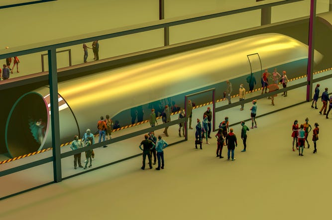 Train station and Hyperloop. Passengers waiting for the train. Futuristic technology for high-speed transport of goods and passengers in low-pressure pipes. 3d rendering