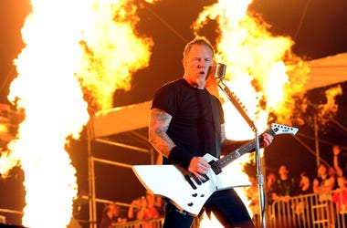 Musician James Hetfield of Metallica performs onstage during The Big 4 held at the Empire Polo Club on April 23, 2011 in Indio, California. (Photo by Kevin Winter/Getty Images)