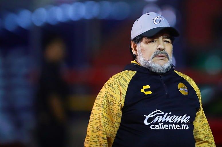 Diego Armando Maradona, coach of Dorados de Sinaloa gestures during the semifinal second leg match between Mineros and Dorados as part of the Playoffs Torneo Clasusura 2019 Ascenso MX at Estadio Carlos Vega Villalba on April 27, 2019 in Zacatecas, Mexico