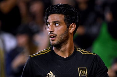 Carlos Vela #10 of Los Angeles FC reacts after earning a corner kick during a 2-0 win over FC Cincinnati at Banc of California Stadium on April 13, 2019 in Los Angeles, California.