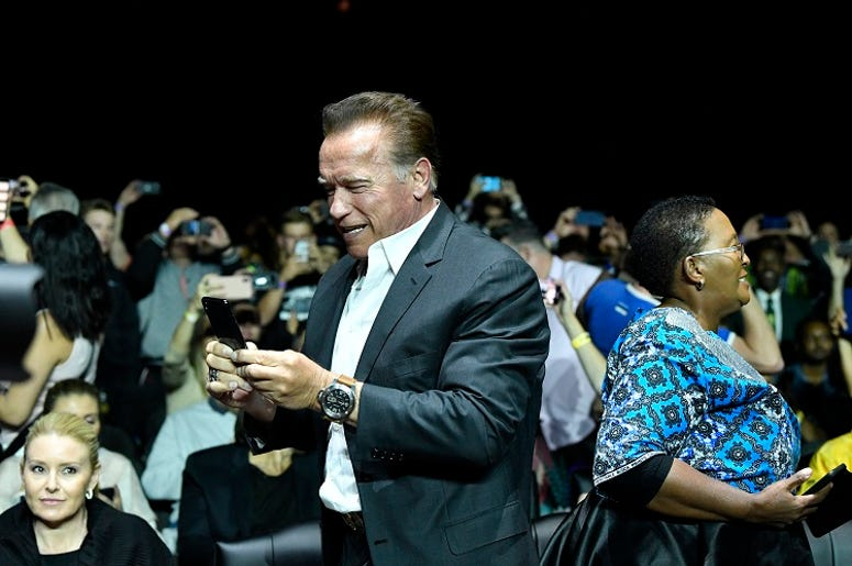 Arnold Schwarzenegger is seen during the Arnold Sports Festival Africa 2019 at Sandton Convention Centre on May 18, 2019 in Johannesburg, South Africa.