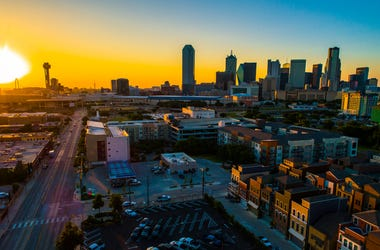 Aerial drone view Golden hour - Golden sun burst sunset over Dallas Texas Skyline Cityscape 2019