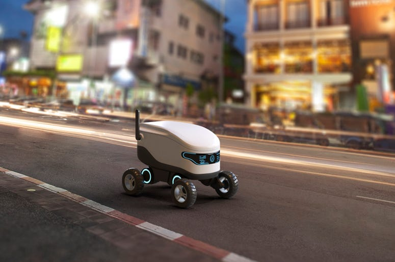 Self-driving delivery robot concept. 3D illustration