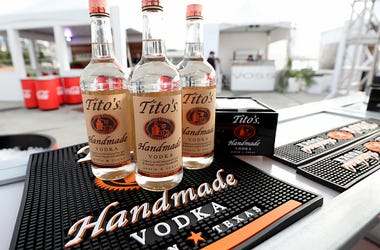 A view of Tito's Vodka on display as Titans of BBQ presented by National Beef and Pat LaFrieda Meats hosted by Dario Cecchini, Pat LaFrieda and Michael Symon at Pier 97 on October 12, 2019 in New York City. (Photo by Cindy Ord/Getty Images for NYCWFF)