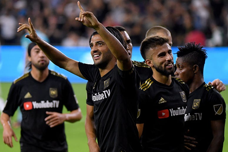 Carlos Vela #10 of Los Angeles FC celebrates his second goal of the game, to take a 2-0 lead over the Los Angeles Galaxy, during the first half of the Western Conference Semifinals at Banc of California Stadium on October 24, 2019 in Los Angeles, Californ