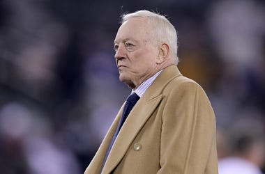 Dallas Cowboys Owner, President and General Manager Jerry Jones walks on the field before the game against the New York Giants at MetLife Stadium on November 04, 2019 in East Rutherford, New Jersey.